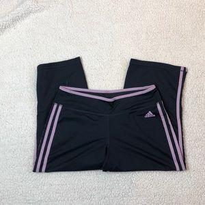Adidas graphite/pink capri yoga pant